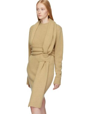 photo Beige Brushed Wool Dress by Bottega Veneta - Image 4