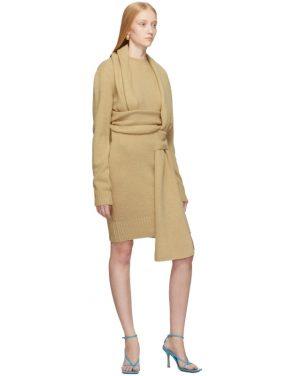 photo Beige Brushed Wool Dress by Bottega Veneta - Image 5
