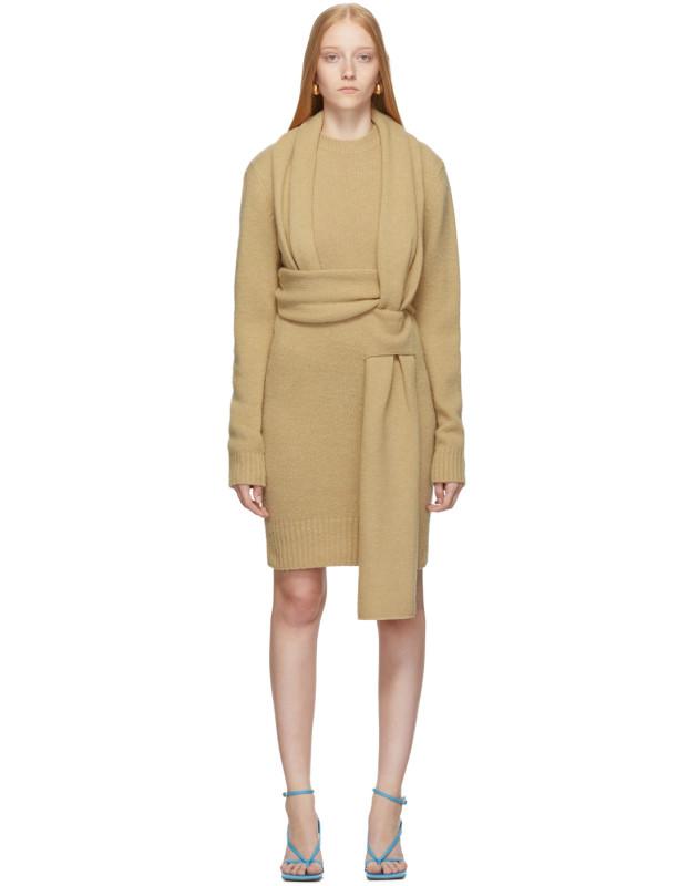 photo Beige Brushed Wool Dress by Bottega Veneta - Image 1