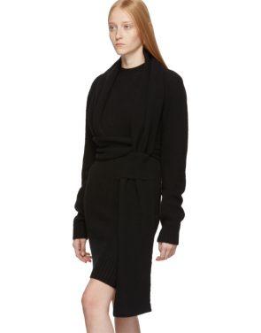 photo Black Twin Scarf Knit Dress by Bottega Veneta - Image 4
