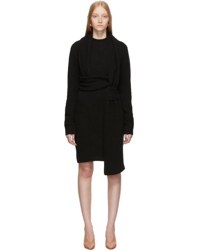 photo Black Twin Scarf Knit Dress by Bottega Veneta - Image 1