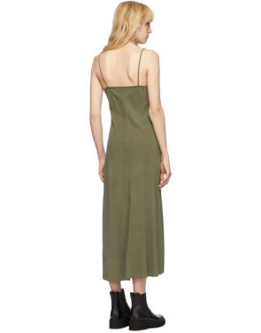 photo Khaki Silk Bias Slip Dress by Our Legacy - Image 3