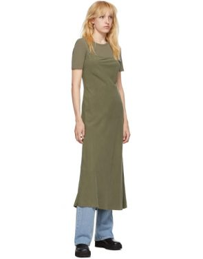 photo Khaki Silk Bias Slip Dress by Our Legacy - Image 5