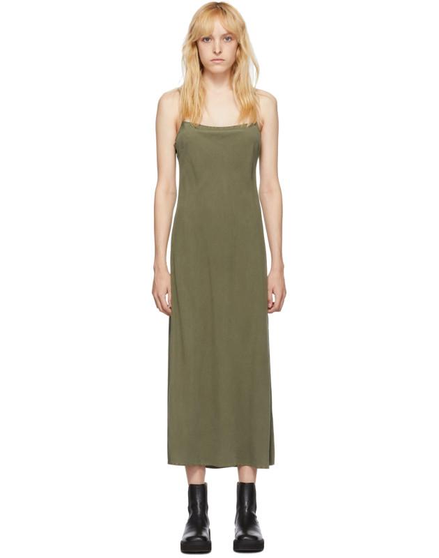 photo Khaki Silk Bias Slip Dress by Our Legacy - Image 1