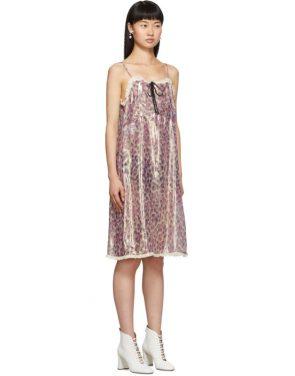photo Pink Silk Chiffon Print Dress by Miu Miu - Image 2