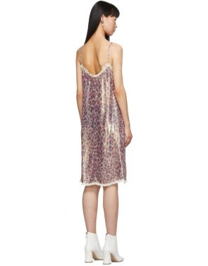 photo Pink Silk Chiffon Print Dress by Miu Miu - Image 3