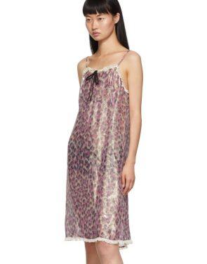 photo Pink Silk Chiffon Print Dress by Miu Miu - Image 4
