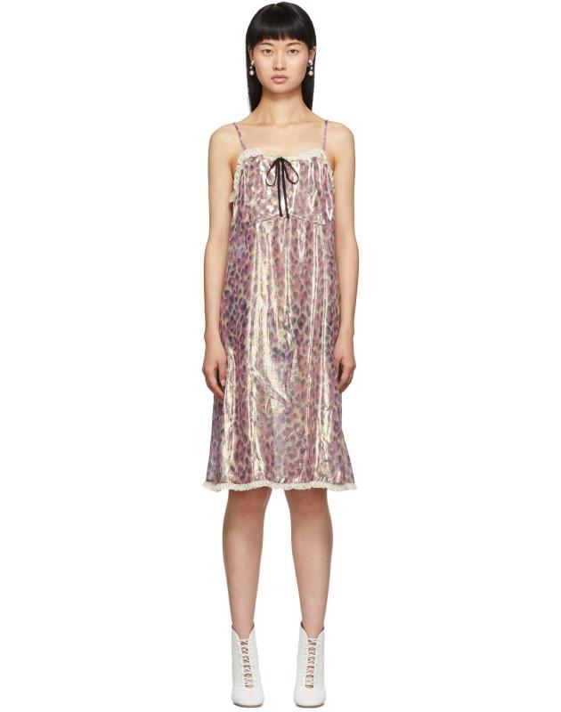 photo Pink Silk Chiffon Print Dress by Miu Miu - Image 1