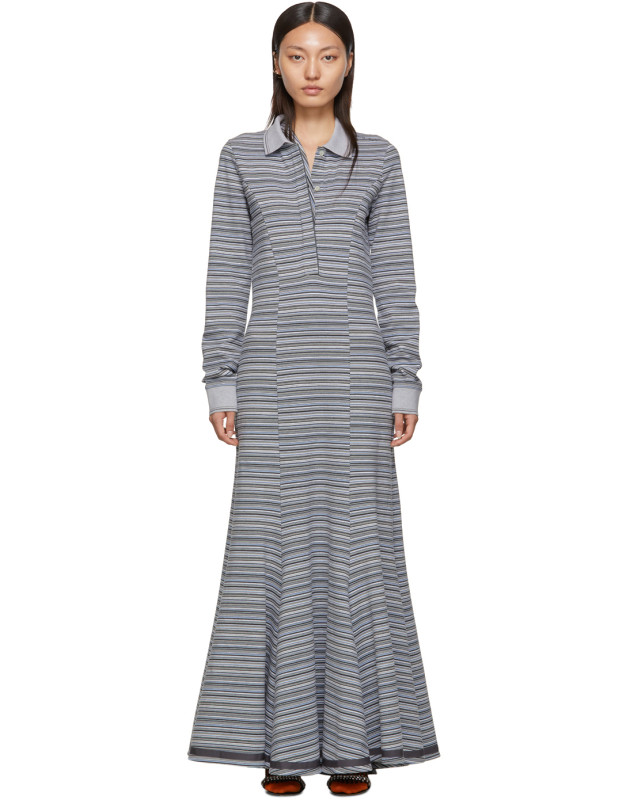 photo Grey Stripe Polo Dress by Y/Project - Image 1