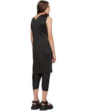 photo Black V-Neck Dress by Pleats Please Issey Miyake - Image 3