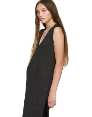 photo Black V-Neck Dress by Pleats Please Issey Miyake - Image 4