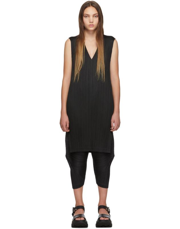 photo Black V-Neck Dress by Pleats Please Issey Miyake - Image 1